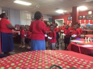 Students singing.