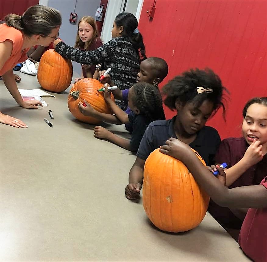 Students carving pumpkins.