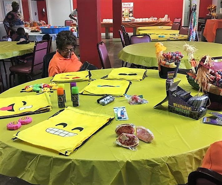 Table with Halloween activities.