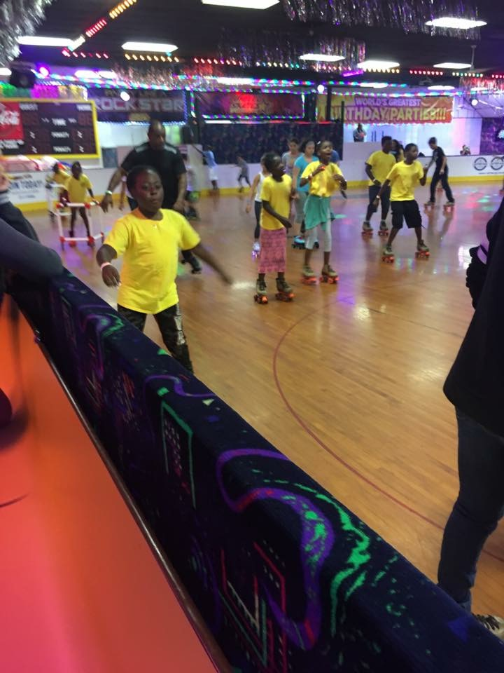 Students roller skating.