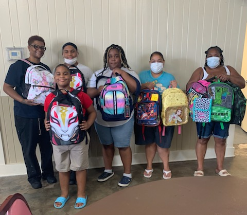 Numerous students with backpacks.